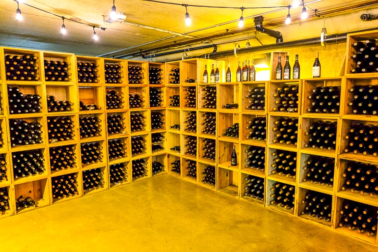wine bottles stored on wooden shelving in inniskillin cellar