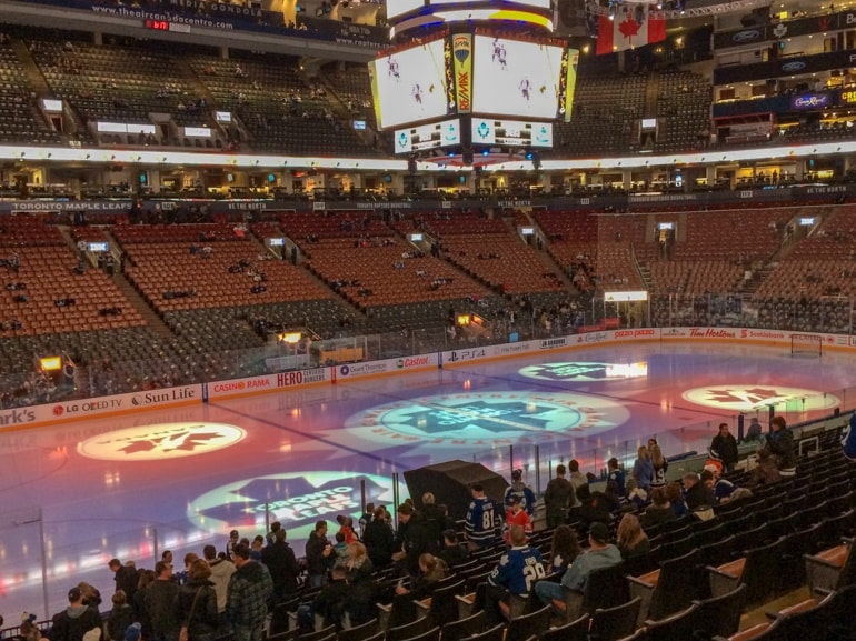 inside air canada centre with stadium lights toronto tourist attractions