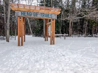 wooden trail sign with snow scanlon creek conservation area