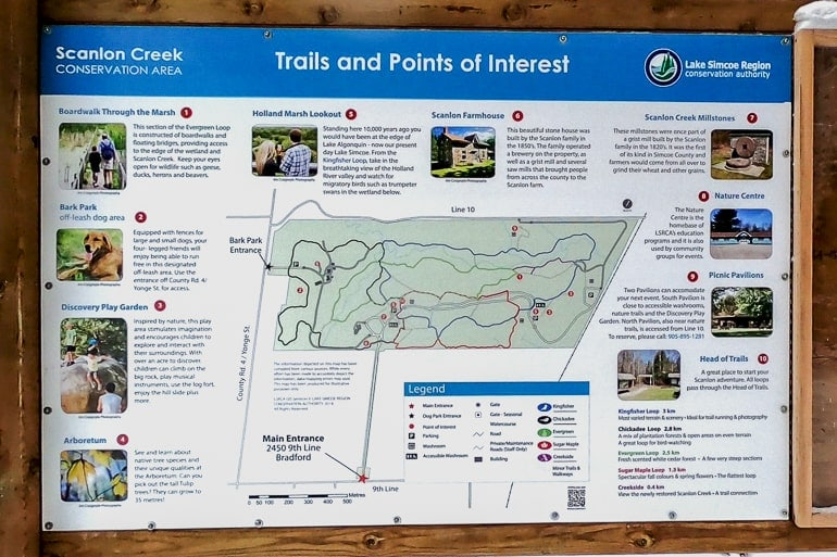 colourful trail map of nature area scanlon creek conservation area