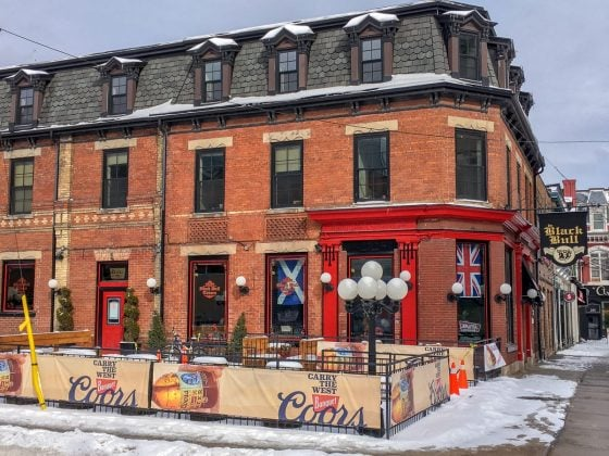 english style pub in red brick building on street corner bars in downtown toronto