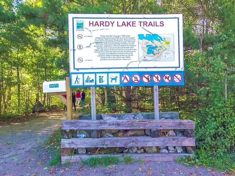 entrance sign in parking lot of hardy lake provincial park