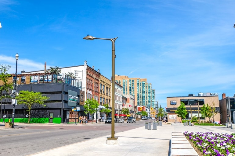 downtown busy street with bars and hotels along it where to stay barrie