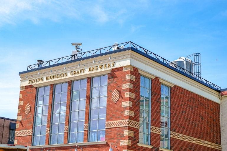 red brick brewery building flying monkeys barrie