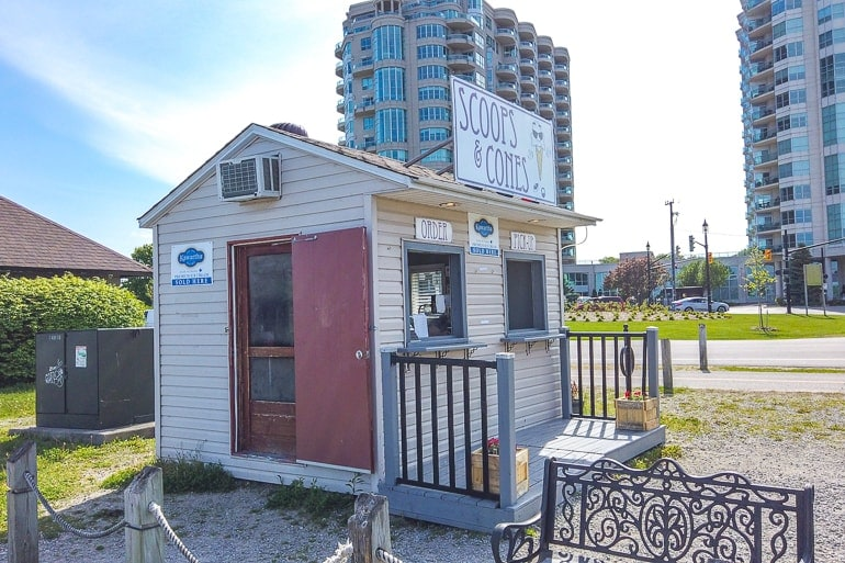small ice cream shop along barrie waterfront with kawartha dairy