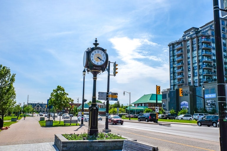 small clock tower near waterfront and road in barrie ontario things to do