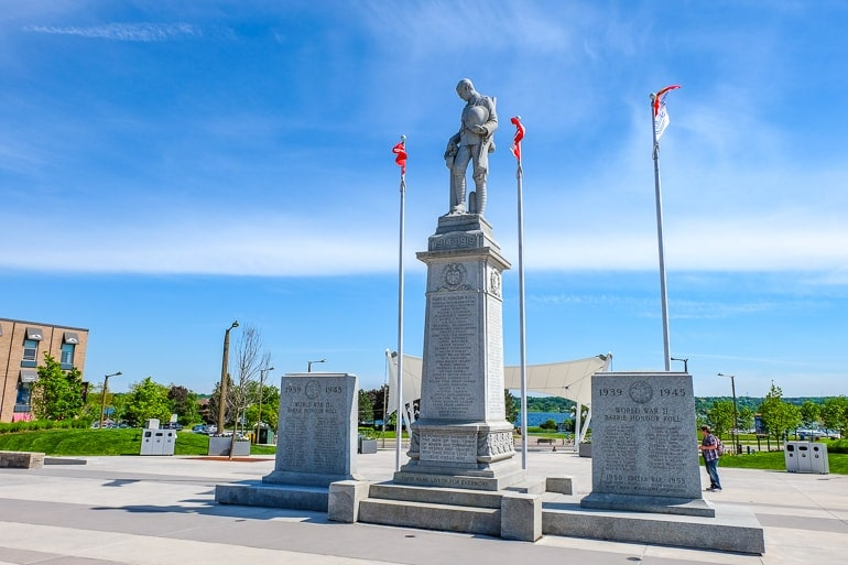 concrete war memorial with canadian flags downtown barrie ontario