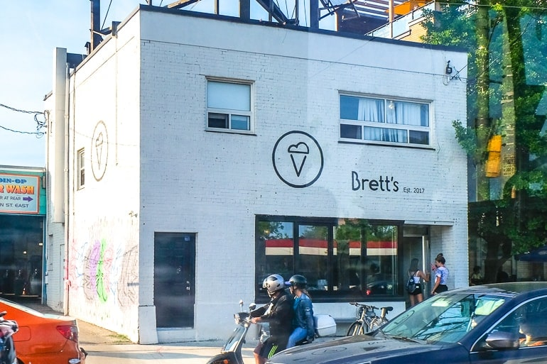 ice cream shop with white brick and road in front best ice cream toronto bretts