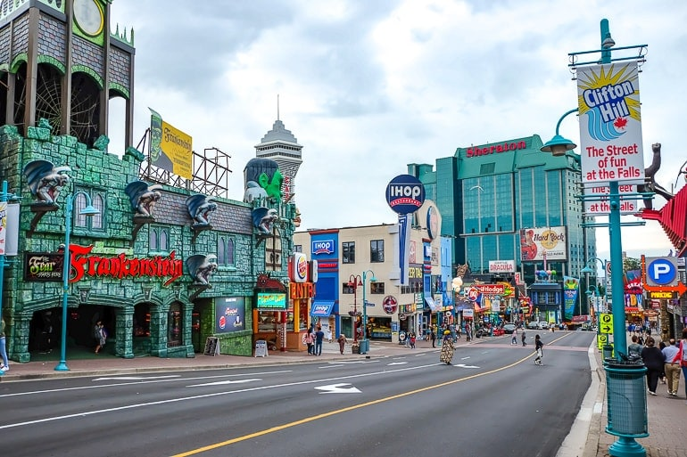 colourful signs along roadway clifton hill niagara falls amusement area