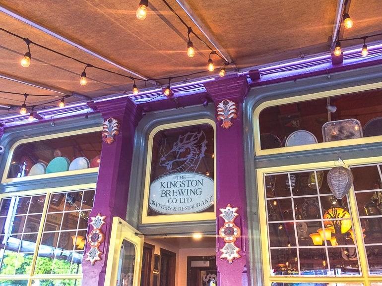 purple outside decor on brewery patio kingston brewing co kingston ontario pub