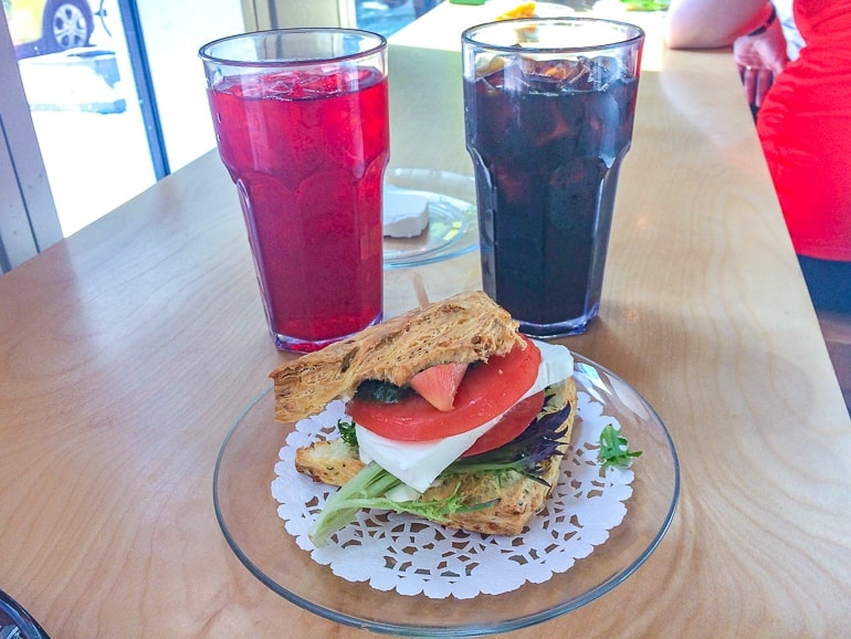 scone sandwich on plate with two drinks sconewitch ottawa