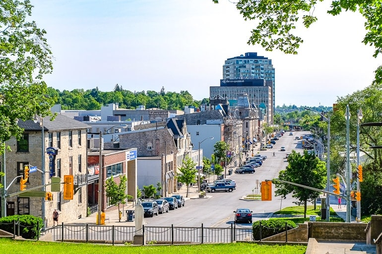 city street with cars parked view from above downtown guelph ontario
