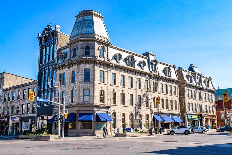 old stone building at city intersection downtown guelph ontario hotel
