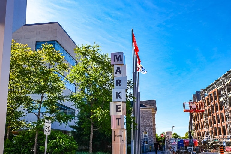 metallic sign for market with flag poles behind things to do in guelph ontario