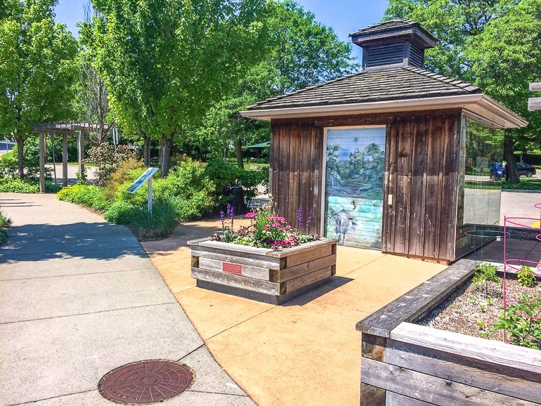 wooden shed with gardens around riverside park guelph