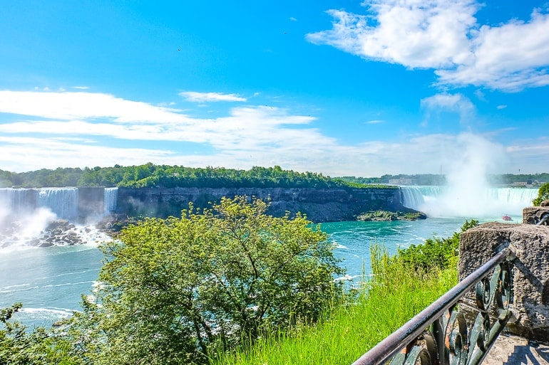 two waterfalls with shrubs in between things to do in niagara falls canada