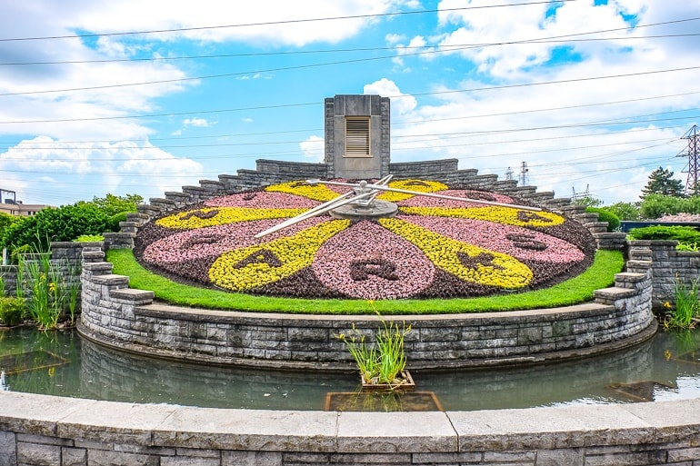 colourful clock made of flowers by niagara parks things to do in niagara falls