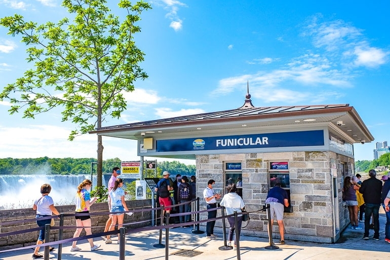 stone ticket booth with blue sky funicular ride niagara falls canada