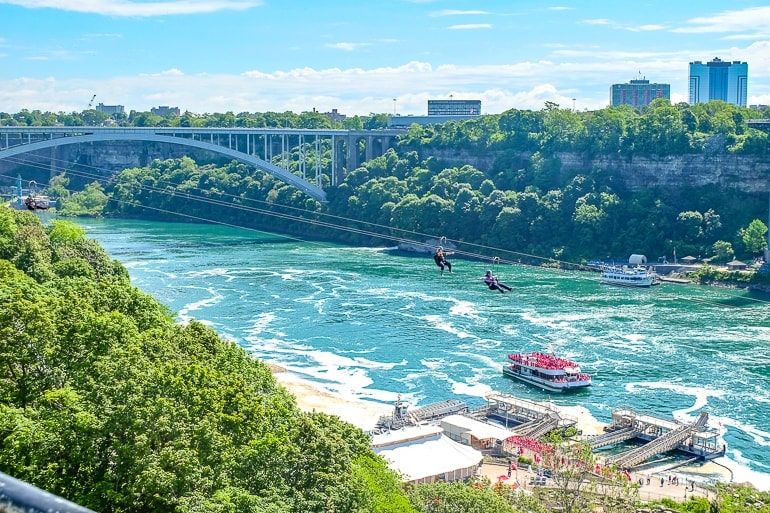 people zip-lining over boat and blue river things to do in niagara falls canada