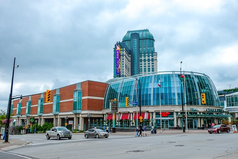 glass dome with casino tower behind fallsview casino resort niagara falls