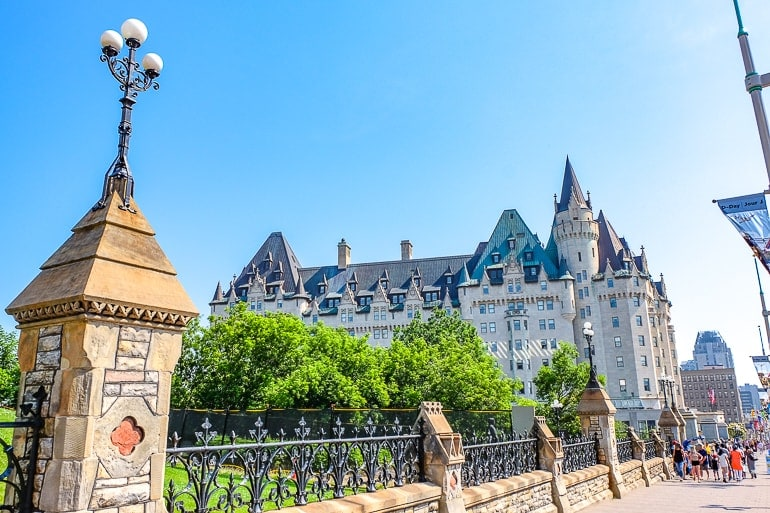 old hotel with trees in front fairmont chateau laurier ottawa canada