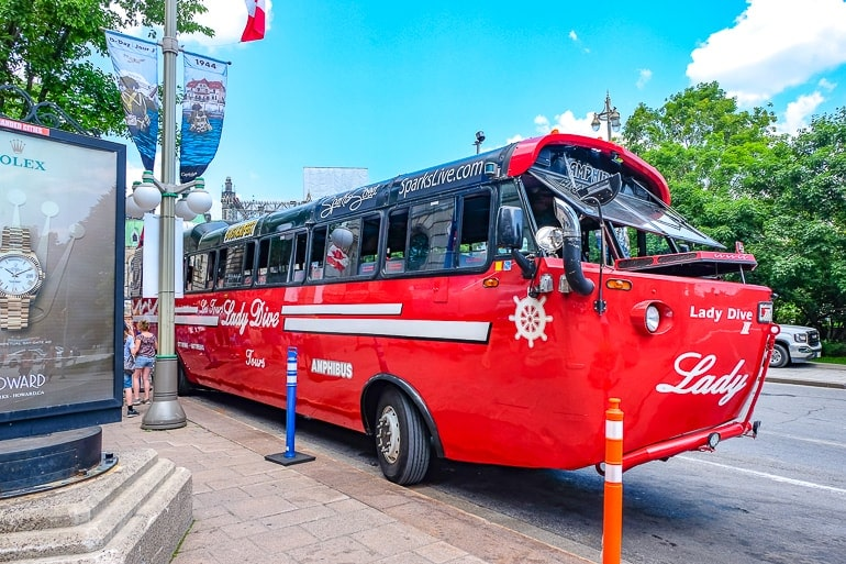 red boat bus parked on street things to do in ottawa canada lady dive tours