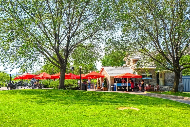 pub with red umbrellas and green grass in front tavern on the hill ottawa canada