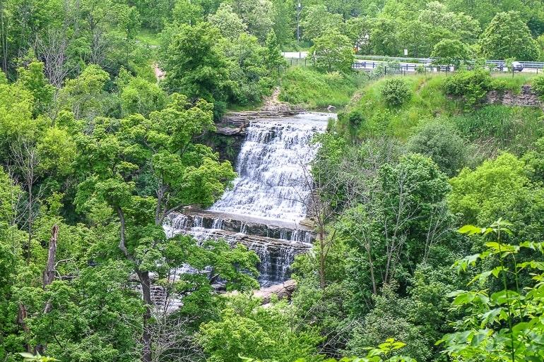 cascading waterfall through green trees hamilton ontario day trip toronto
