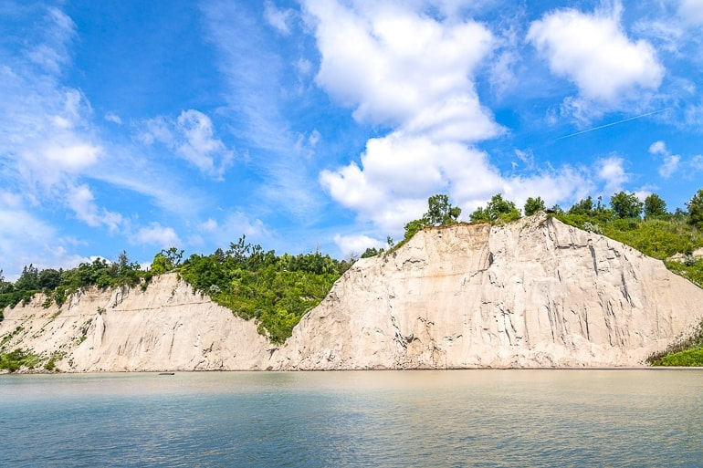 white cliffs seen from water with water at base day trips toronto scarborough bluffs