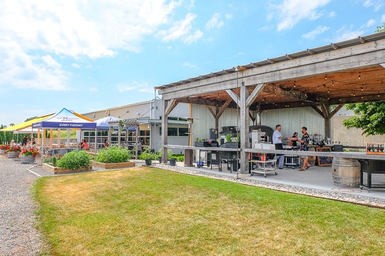 outdoor patio area at winery in prince edward county