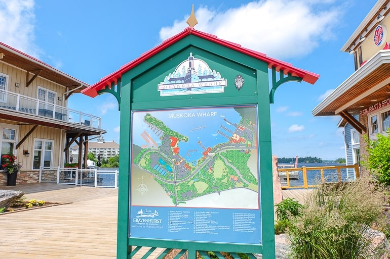 blue and green signboard on muskoka wharf things to do in gravenhurst