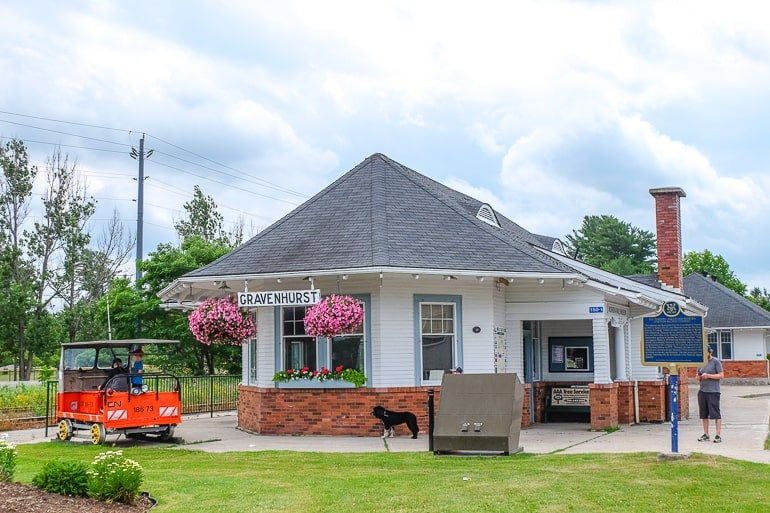 small train station building with flowers outside gravenhurst ontario