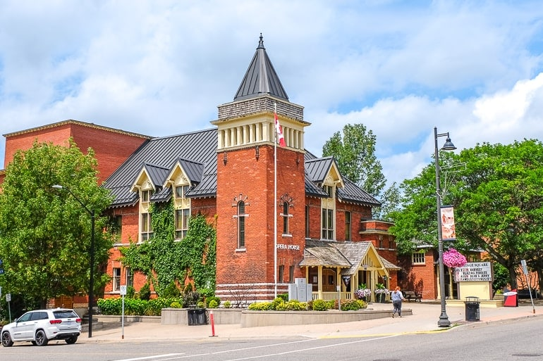 red brick opera house on street corner in gravenhurst ontario