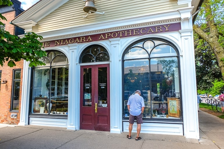 old apothecary museum with man on sidewalk in front