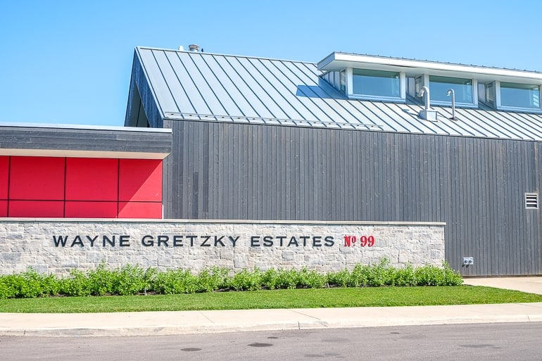 red and grey outside of wayne gretzky distillery