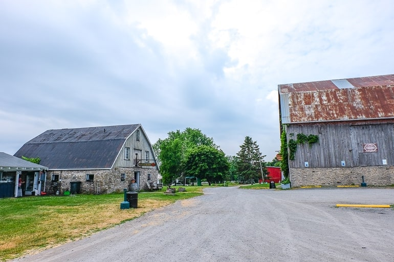 barn and restaurant building with driveway in between at county cider company