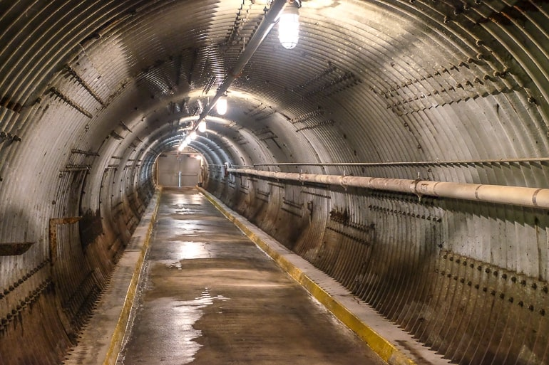long metallic tunnel leading to diefenbunker entrance