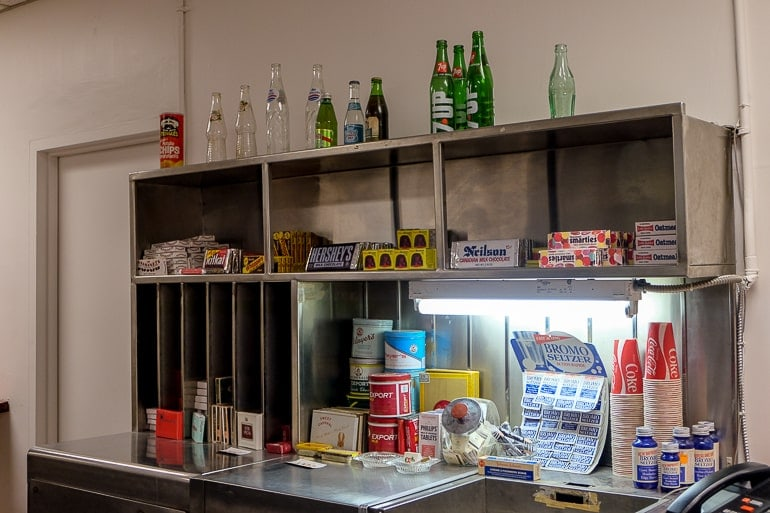 old fashioned canteen with supplies on display at diefenbunker