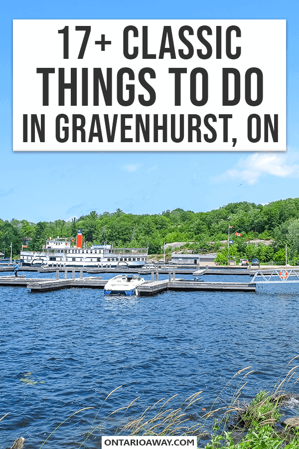 Photo of dock in water with boats and text overlay pin for gravenhurst article