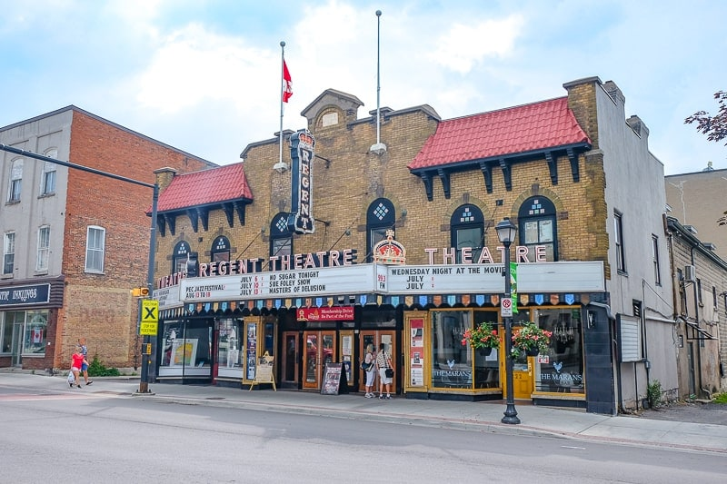 historic theatre building with main street in front in picton ontario things to do in prince edward county
