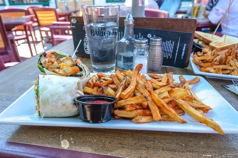 plate on table with fries and a wrap at pub