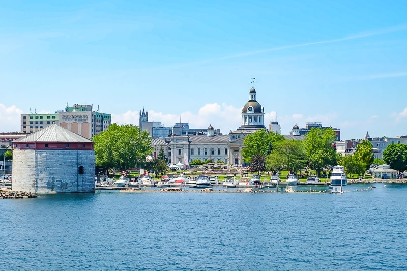 downtown kingston ontario buildings and boats at historic waterfront