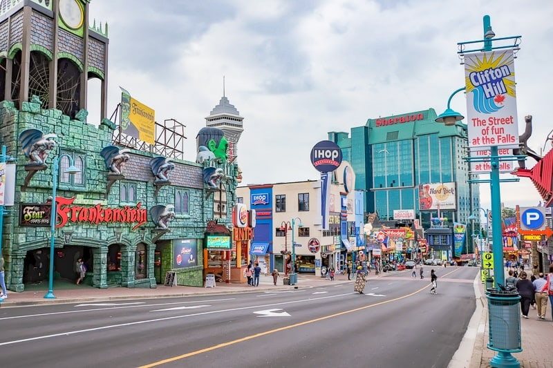 downtown street with hotels restaurants and bright attractions clifton hill niagara falls canada