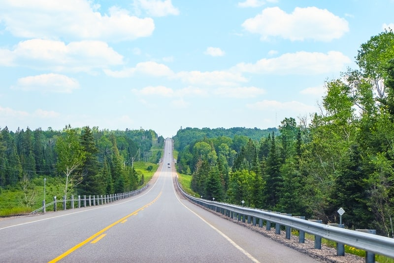 long road with yellow line through green forest in ontario