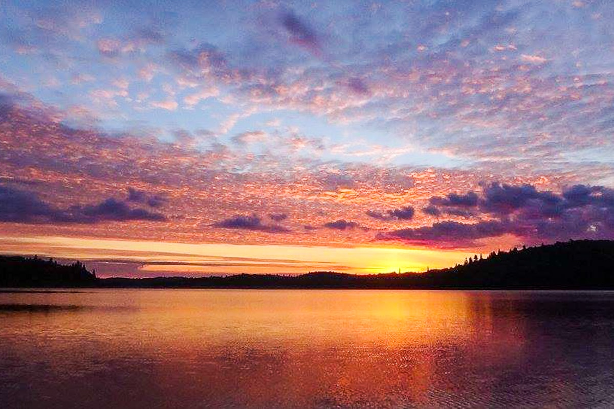 colourful sunrise over lake with trees in ontario