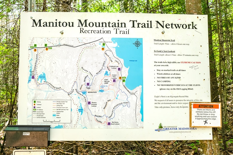 manitou mountain trails map in forest